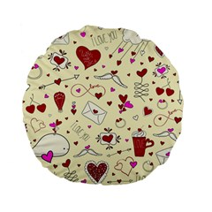 Valentinstag Love Hearts Pattern Red Yellow Standard 15  Premium Flano Round Cushions