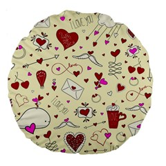 Valentinstag Love Hearts Pattern Red Yellow Large 18  Premium Flano Round Cushions
