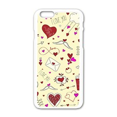 Valentinstag Love Hearts Pattern Red Yellow Apple iPhone 6/6S White Enamel Case