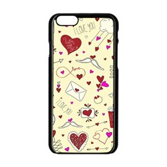 Valentinstag Love Hearts Pattern Red Yellow Apple iPhone 6/6S Black Enamel Case