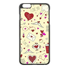 Valentinstag Love Hearts Pattern Red Yellow Apple iPhone 6 Plus/6S Plus Black Enamel Case
