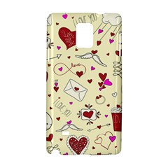 Valentinstag Love Hearts Pattern Red Yellow Samsung Galaxy Note 4 Hardshell Case