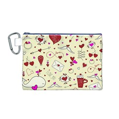 Valentinstag Love Hearts Pattern Red Yellow Canvas Cosmetic Bag (M)