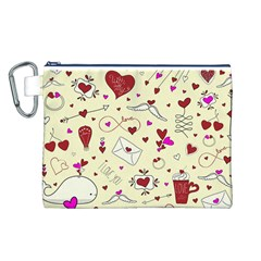 Valentinstag Love Hearts Pattern Red Yellow Canvas Cosmetic Bag (L)