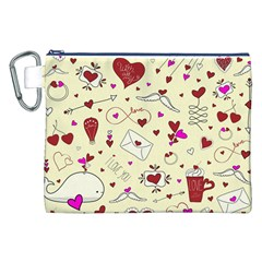 Valentinstag Love Hearts Pattern Red Yellow Canvas Cosmetic Bag (XXL)