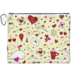 Valentinstag Love Hearts Pattern Red Yellow Canvas Cosmetic Bag (XXXL)