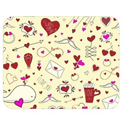 Valentinstag Love Hearts Pattern Red Yellow Double Sided Flano Blanket (Medium)