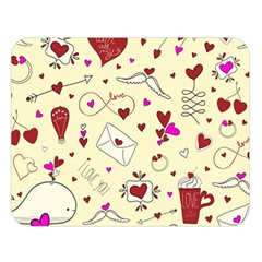 Valentinstag Love Hearts Pattern Red Yellow Double Sided Flano Blanket (Large)