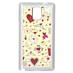 Valentinstag Love Hearts Pattern Red Yellow Samsung Galaxy Note 4 Case (White)