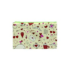 Valentinstag Love Hearts Pattern Red Yellow Cosmetic Bag (XS)