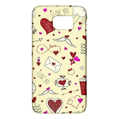 Valentinstag Love Hearts Pattern Red Yellow Galaxy S6
