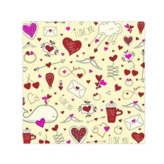 Valentinstag Love Hearts Pattern Red Yellow Small Satin Scarf (Square)