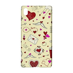 Valentinstag Love Hearts Pattern Red Yellow Sony Xperia Z3+