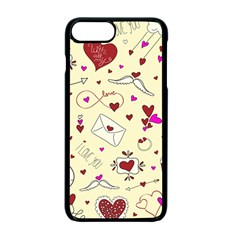 Valentinstag Love Hearts Pattern Red Yellow Apple Iphone 7 Plus Seamless Case (black)
