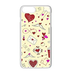 Valentinstag Love Hearts Pattern Red Yellow Apple Iphone 7 Plus White Seamless Case