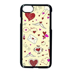 Valentinstag Love Hearts Pattern Red Yellow Apple Iphone 7 Seamless Case (black)