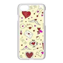 Valentinstag Love Hearts Pattern Red Yellow Apple Iphone 7 Seamless Case (white)