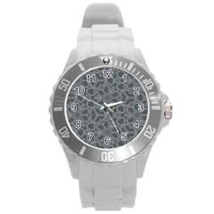 Floral pattern Round Plastic Sport Watch (L)