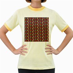 Turtle pattern Women s Fitted Ringer T-Shirts