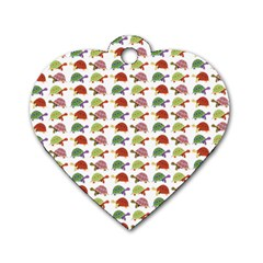 Turtle pattern Dog Tag Heart (Two Sides)