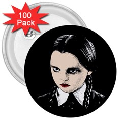 Wednesday Addams 3  Buttons (100 pack)