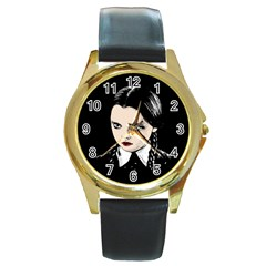 Wednesday Addams Round Gold Metal Watch