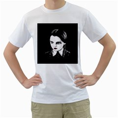 Wednesday Addams Men s T-Shirt (White) (Two Sided)