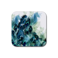 Flowers And Feathers Background Design Rubber Square Coaster (4 pack)