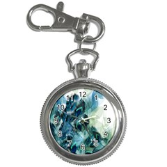 Flowers And Feathers Background Design Key Chain Watches