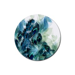 Flowers And Feathers Background Design Rubber Round Coaster (4 pack)