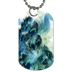 Flowers And Feathers Background Design Dog Tag (One Side)
