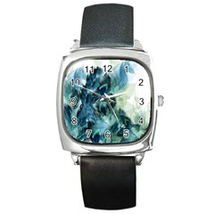 Flowers And Feathers Background Design Square Metal Watch