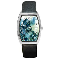 Flowers And Feathers Background Design Barrel Style Metal Watch