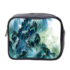 Flowers And Feathers Background Design Mini Toiletries Bag 2-Side
