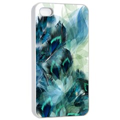 Flowers And Feathers Background Design Apple iPhone 4/4s Seamless Case (White)