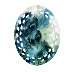 Flowers And Feathers Background Design Oval Filigree Ornament (Two Sides)