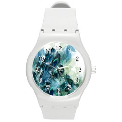 Flowers And Feathers Background Design Round Plastic Sport Watch (M)