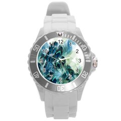 Flowers And Feathers Background Design Round Plastic Sport Watch (L)