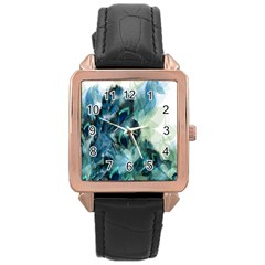 Flowers And Feathers Background Design Rose Gold Leather Watch