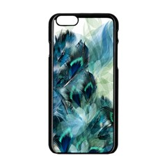 Flowers And Feathers Background Design Apple iPhone 6/6S Black Enamel Case