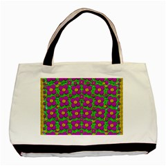 Bohemian Big Flower Of The Power In Rainbows Basic Tote Bag