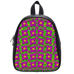 Bohemian Big Flower Of The Power In Rainbows School Bags (Small)