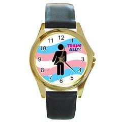Transgender  Round Gold Metal Watch
