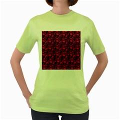 Skulls pattern  Women s Green T-Shirt