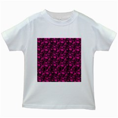Skulls pattern  Kids White T-Shirts