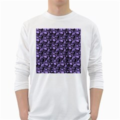 Skulls pattern  White Long Sleeve T-Shirts