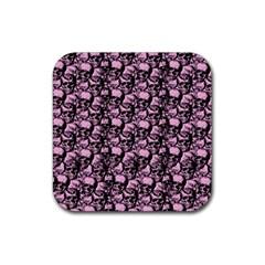 Skulls pattern  Rubber Coaster (Square)