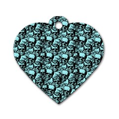 Skulls pattern  Dog Tag Heart (One Side)
