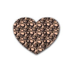 Skulls pattern  Rubber Coaster (Heart)
