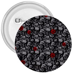 Skulls and roses pattern  3  Buttons